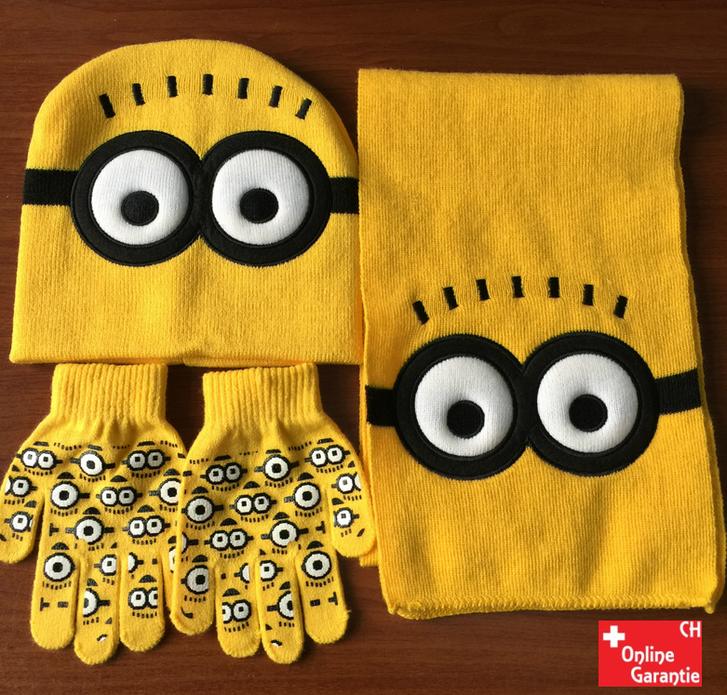 Suchen:   Minions Minion Winter Cap Mütze Kappe Wintermütze Beanie & Schal und Handschuhe Fan Winter Set für Kind Kinder