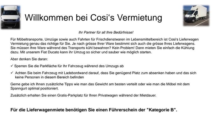 Cosi's Lieferwagen Vermietung  Sonstige 2