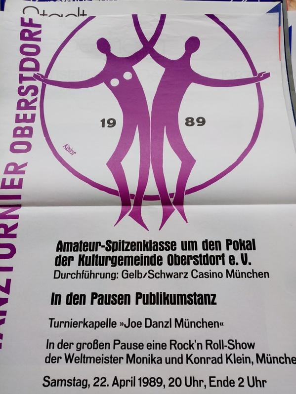 1989 Plakat Kalot Oberstdorf  Intn.Tanztunier mit Weltmeister Rockn Roll Sammeln 2