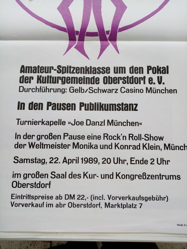 1989 Plakat Kalot Oberstdorf  Intn.Tanztunier mit Weltmeister Rockn Roll Sammeln 3