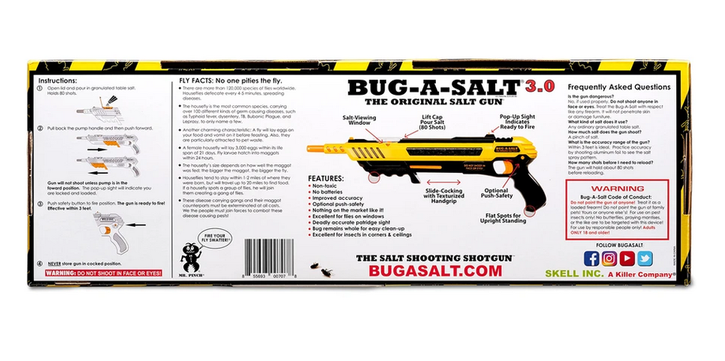 BUG-A-SALT 3.0 Anti Fliegen Gewehr Salz Gewehr Fliegengewehr Salzgewehr Sommer Fliegenklatsche USA Garten & Handwerk 4