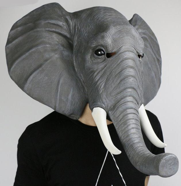 Elefanten Maske Elefantenmaske aus Latex Tiermaske Fasnacht Karneval Halloween Party  Kleidung & Accessoires 2