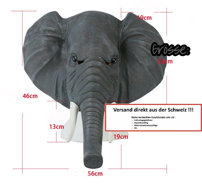 Elefanten Maske Elefantenmaske aus Latex Tiermaske Fasnacht Karneval Halloween Party  Kleidung & Accessoires 4