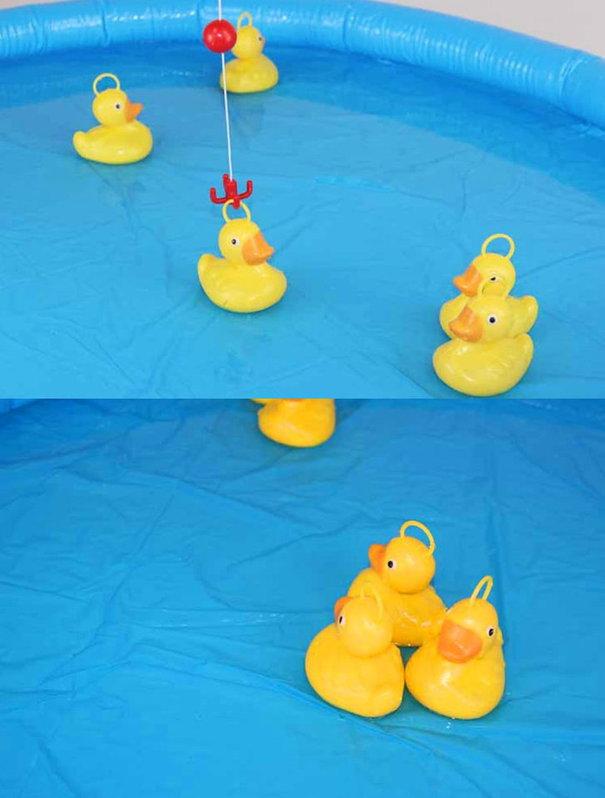 Enten Ente Angel Spiel Angelspiel Kind Kinder mit Aufblasbaren Pool und Angelrute Wasser Wasserspiel Sommer Badi Spielzeuge & Basteln 2