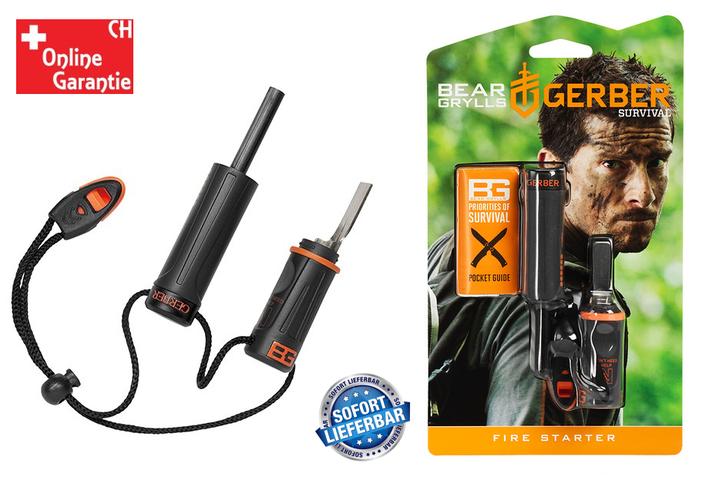 Gerber Bear Grylls Feuerstarter mit wasserdichtem Zunderlager Inklusive Notfallpfeife Survival Series Jagd Outdoor Sport & Outdoor