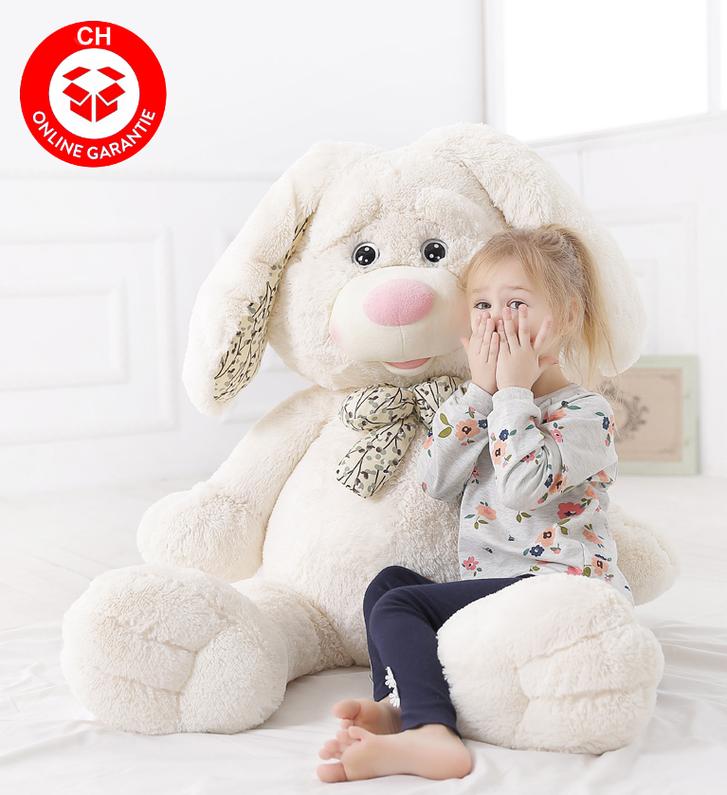 Grosser Plüschhase Hase Hasi Bunny Kaninchen Plüsch Plüschtier Kuschel Geschenk für Kind Kinder Freundin Frau Weiss Spielzeuge & Basteln
