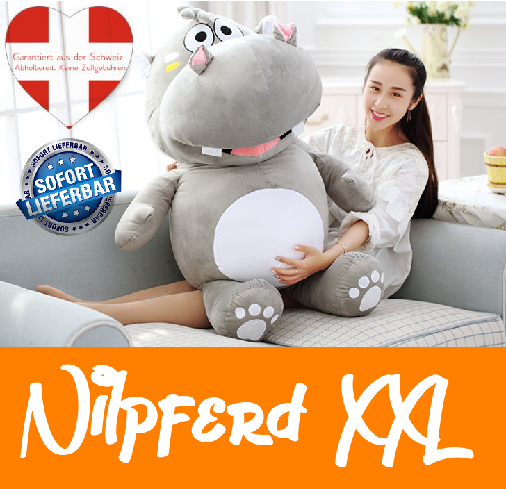 Grosses Plüsch Hippo Nilpferd Flusspferd Geschenk 120cm XXL Geschenk Kind Kinder Frau Freundin Baby & Kind