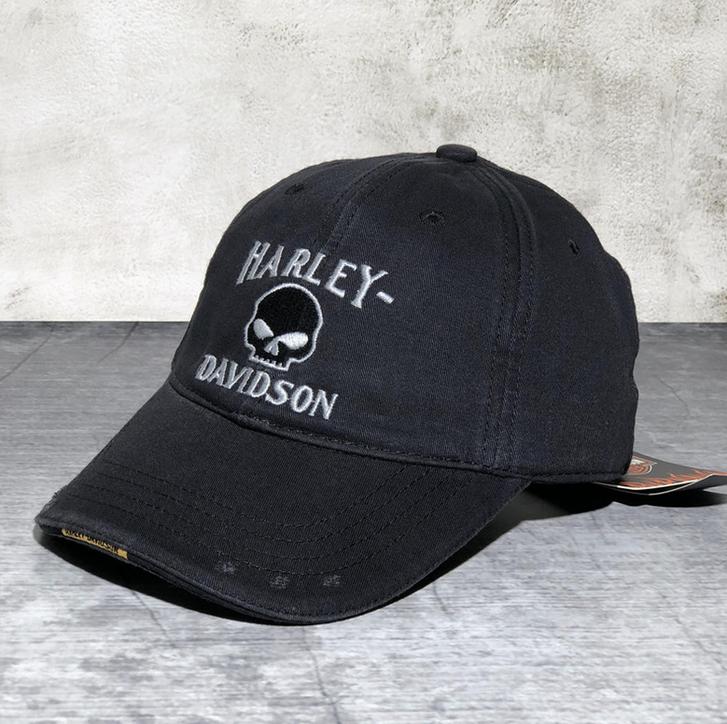 Harley-Davidson Cap Harley Kappe Mütze Biker Skull HD Fan Schwarz Kleidung & Accessoires