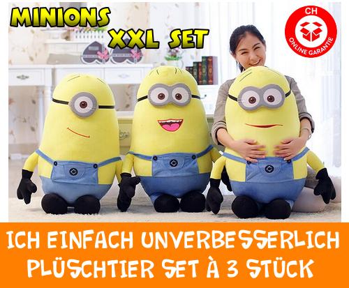 Ich Einfach Unverbesserlich Minion Minions Plüschfigur Plüschtier XXL 3er Set Geschenk Film Kino Kult Gelb  Spielzeuge & Basteln