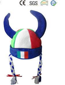 Italien Italy Fan Cap Perücke Wikinger Hörner Teufel Zöpfen Kappe Mütze Haare Flagge Fussball WM EM Support