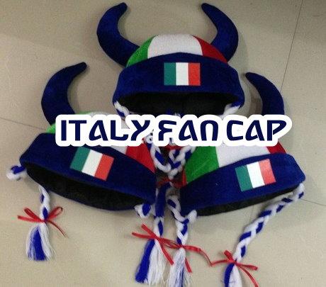 Italien Italy Fan Cap Perücke Wikinger Hörner Teufel Zöpfen Kappe Mütze Haare Flagge Fussball WM EM Support Kleidung & Accessoires 2