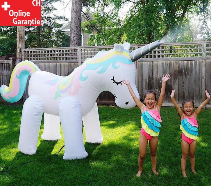 Mega Einhorn Sprinkler Wasser Spielzeug Sommer Garten Kinder Zuhause Pool Badi Wasserspielzeug Unicorn XXL Spielzeuge & Basteln 2