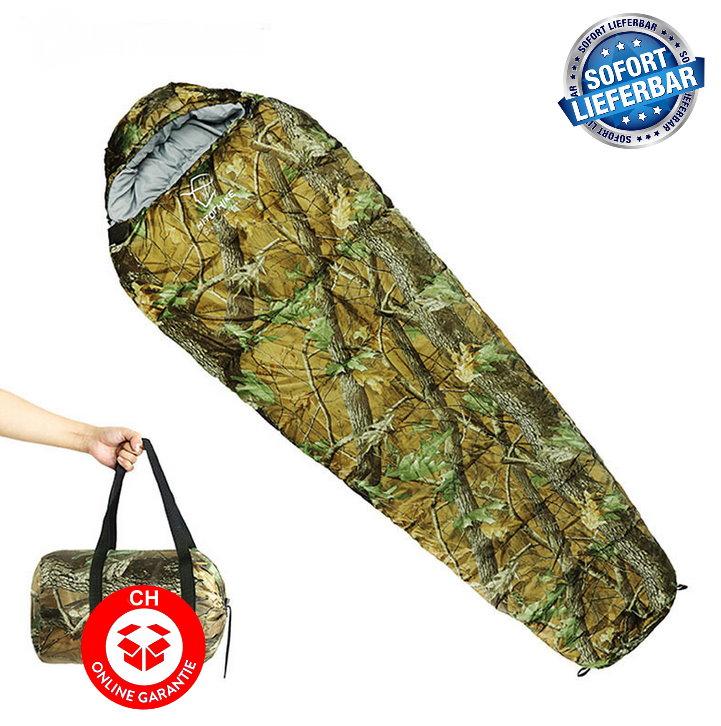 Militär Schlafsack Camouflage Mumienschlafsack Schlack Sack Matte Camping Outdoor Festival Konzert Wald Berge getarnt ca. 220 * 80cm 4 Jahreszeiten