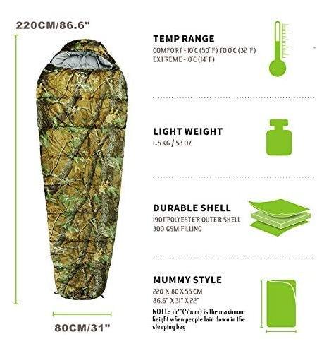 Militär Schlafsack Camouflage Mumienschlafsack Schlack Sack Matte Camping Outdoor Festival Konzert Wald Berge getarnt ca. 220 * 80cm 4 Jahreszeiten Sport & Outdoor 3