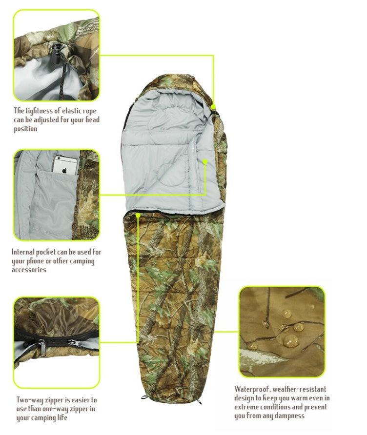 Militär Schlafsack Camouflage Mumienschlafsack Schlack Sack Matte Camping Outdoor Festival Konzert Wald Berge getarnt ca. 220 * 80cm 4 Jahreszeiten Sport & Outdoor 4