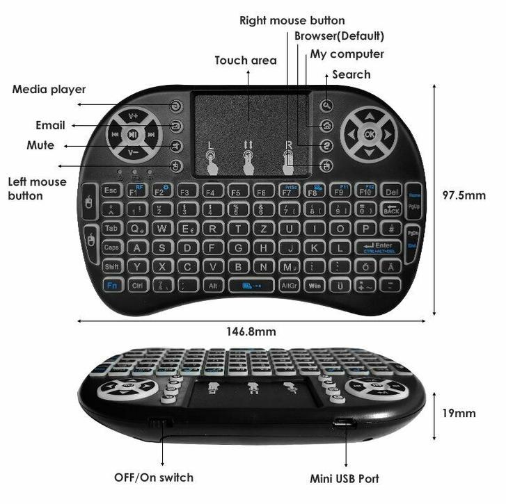 Mini Schweizer QWERTZ Deutsch Tastatur Funktastatur mit Touchpad Wireless 2.4 GHz TV Konsole Zubehör Notebook TV & Audio 2