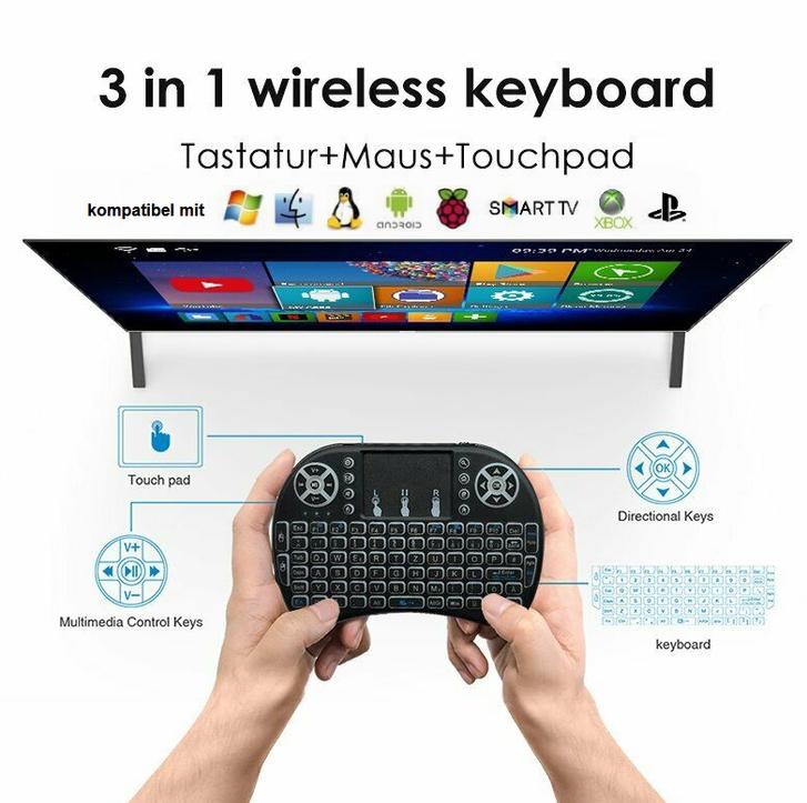 Mini Schweizer QWERTZ Deutsch Tastatur Funktastatur mit Touchpad Wireless 2.4 GHz TV Konsole Zubehör Notebook TV & Audio 4