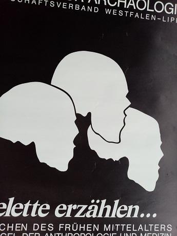 Plakat zur Ausstellung 1983 Münster  Skelette Skulls Antiquitaeten 2