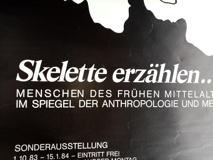 Plakat zur Ausstellung 1983 Münster  Skelette Skulls Antiquitaeten 4