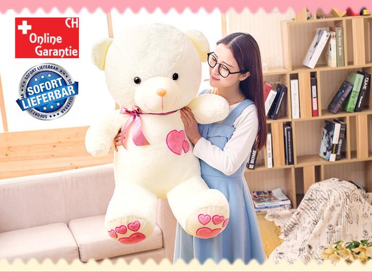 Plüschbär Plüsch Bär Teddy Plüschteddy Plüschtier Bär XL XXL flauschig Love Liebe Weiss Pink Herz / Neu Spielzeuge & Basteln
