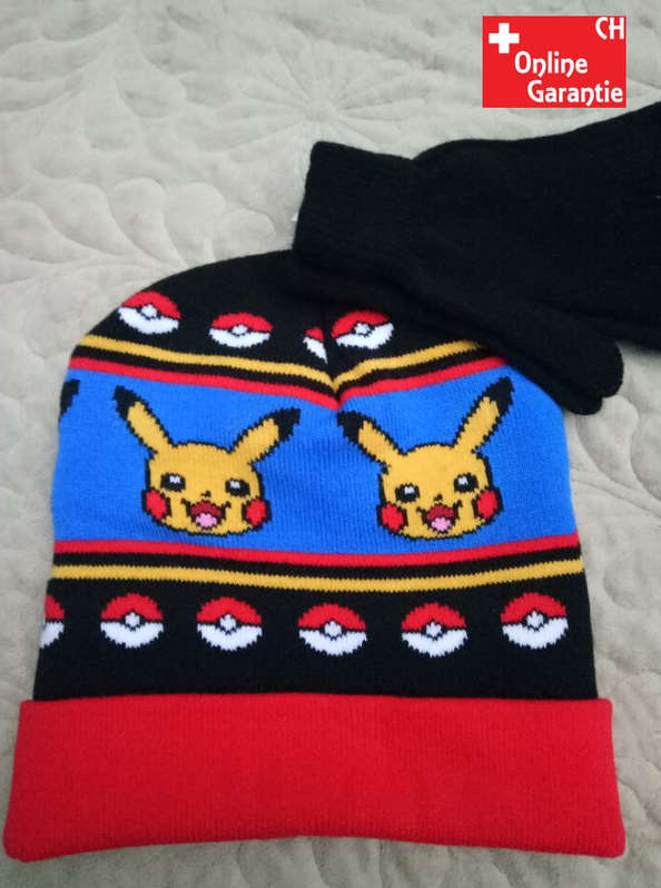 Pokemon Pokémon Pikachu Winter Mütze Beanie Handschuhe Kinder Set Baby & Kind