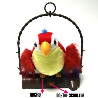 Sprechender Papagei - Papagei spricht nach Plüschtier Papagei Geschenk Vogel Kinder Spielzeug Geschenk für Weihnachten Spassvogel Spass Fun Baby & Kind