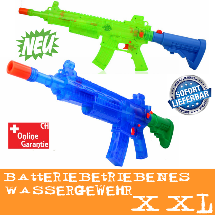 Wasserspritzpistole elektrisch batteriebetrieben Wasserpistole Maschinengewehr-Optik Wasserspritzpistole Wassergewehr Sommer Spielzeug XXL Garten Kind Kinder Spielzeuge & Basteln
