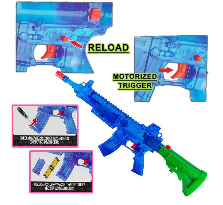 Wasserspritzpistole elektrisch batteriebetrieben Wasserpistole Maschinengewehr-Optik Wasserspritzpistole Wassergewehr Sommer Spielzeug XXL Garten Kind Kinder Spielzeuge & Basteln 2