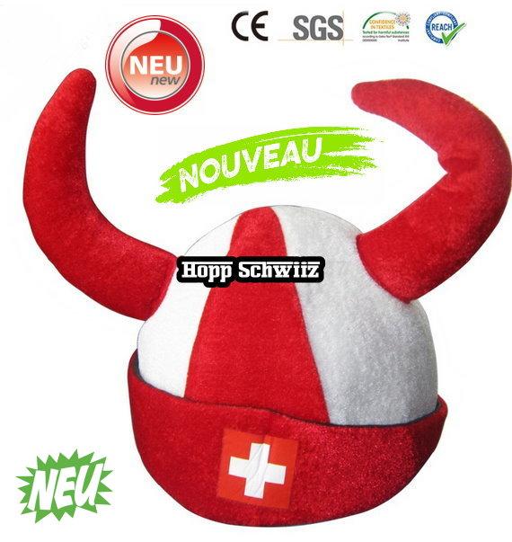 Wikinger Hut Schweiz Fan Cap Hut Mütze Fanartikel Kleidung Hopp Schwiiz Allez la Suisse Switzerland / Neu Sport & Outdoor
