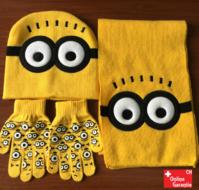 Minions Minion Winter Cap Mütze Kappe Wintermütze Beanie & Schal und Handschuhe Fan Winter Set für Kind Kinder