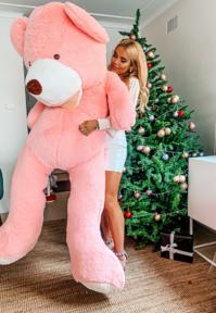 Mega Teddy Bär Pink Rosa Teddybär Plüschbär Kuschelbär Plüschtier XXL Kuscheltier Geschenk Kind Mädchen Girl Frau Freundin 200cm 2m Geburtstag Valentinstag Neuheit