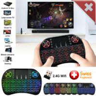 Mini Schweizer QWERTZ Deutsch Tastatur Funktastatur mit Touchpad Wireless 2.4 GHz TV Konsole Zubehör Notebook