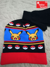 Pokemon Pokémon Pikachu Winter Mütze Beanie Handschuhe Kinder Set